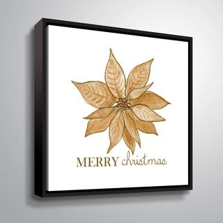 ArtWall Golden Poinsettia Gallery Wrapped Floater-framed Canvas