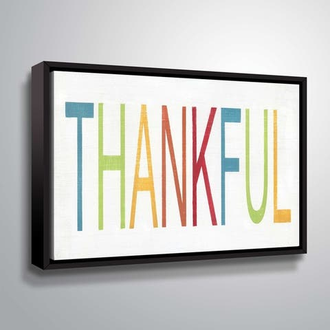 ArtWall Thankful Gallery Wrapped Floater-framed Canvas