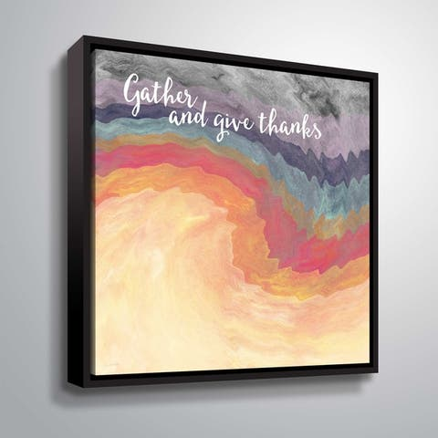ArtWall Gather and Give Thanks Gallery Wrapped Floater-framed Canvas