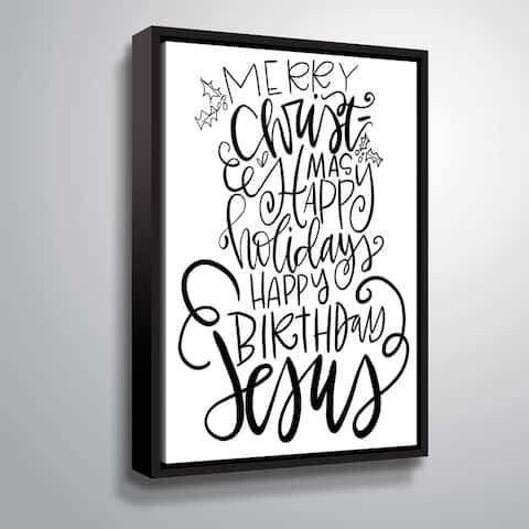 ArtWall Merry Christmas Gallery Wrapped Floater-framed Canvas