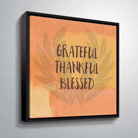 ArtWall Grateful Thankful Blessed Gallery Wrapped Floater-framed Canvas