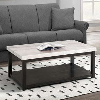 Copper Grove Arinsal Rectangular Black Wood Coffee Table with White Marble Top