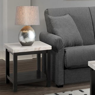 Copper Grove Arinsal Square Black Wood Coffee Table with White Marble Top