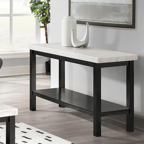 Copper Grove Arinsal Rectangular Black Sofa Table with White Marble Top