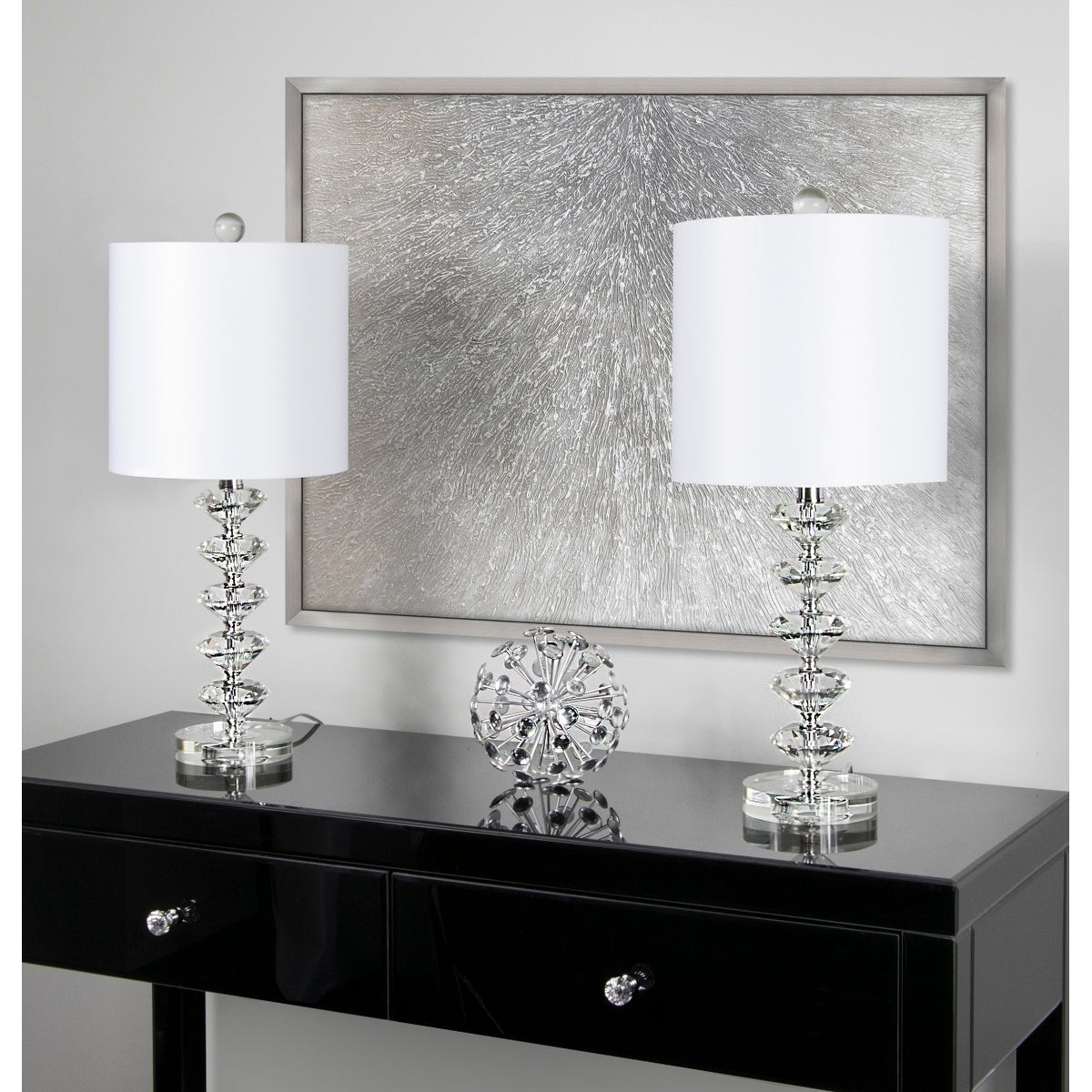 Shop Black Friday Deals On Silver Orchid August Clear Crystal Table Lamp Set Of 2 On Sale Overstock 29158724