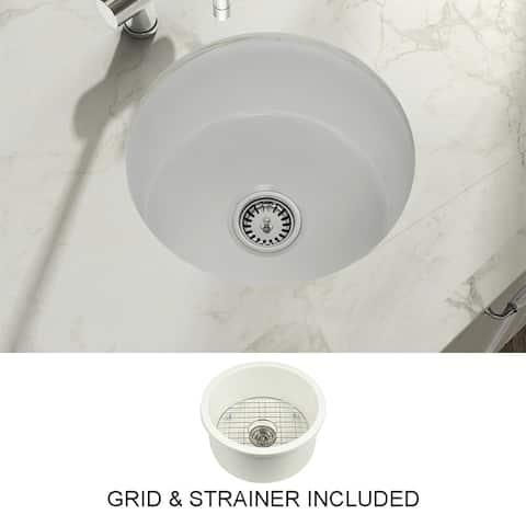 Yorkshire Bar Undermount Fireclay 18.5 in. Round Kitchen Sink with Grid and Strainer in White