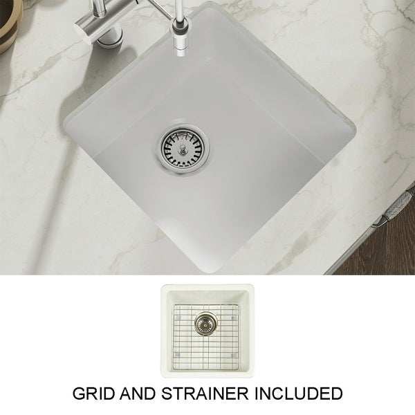 Yorkshire Bar Undermount Fireclay 17 in. Square Kitchen Sink with Grid and Srainer in White. Opens flyout.