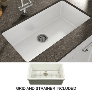 """Yorkshire Undermount Fireclay 31.5"""" x 18.3"""" Single Bowl Kitchen Sink with Grid and Strainer in White"""