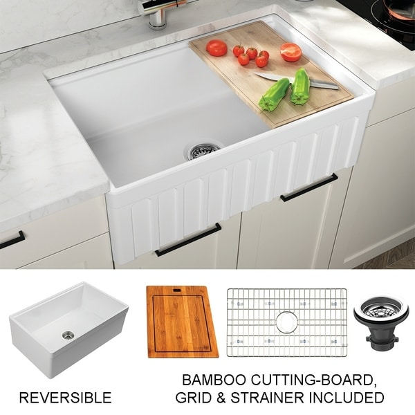 Yorkshire Farmhouse Fireclay Single Bowl Kitchen Sink with Grid Cutting-Board and Strainer in White