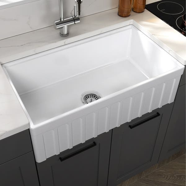 Yorkshire Farmhouse White Fireclay Kitchen Sink With Cutting Board Overstock 29158739 33