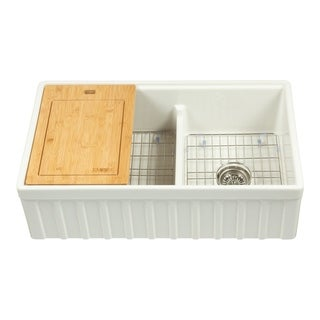 """Yorkshire Farmhouse Fireclay 33"""" Double Bowl Kitchen Sink with Grid Cutting-Board and Strainer in White"""