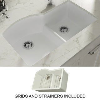 "Yorkshire Undermount Fireclay 33"" x 21"" Double Bowl Kitchen Sink with Grid and Strainer in White"