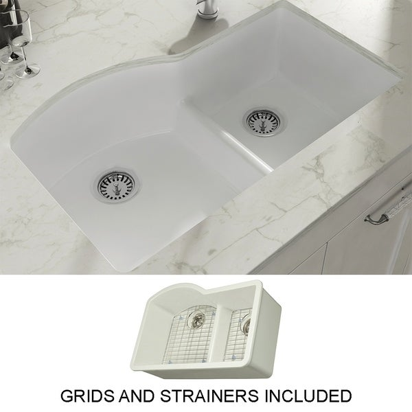 "Yorkshire Undermount Fireclay 33"" x 21"" Double Bowl Kitchen Sink with Grid and Strainer in White. Opens flyout."