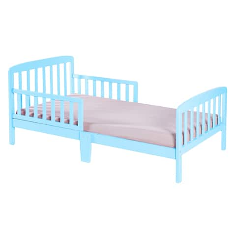Classic Wooden Boys Girls Toddler Kids Bed Frame with Double Adjustable Guard Rails