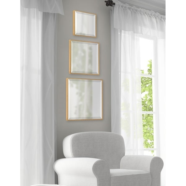 Kate and Laurel Rhodes Modern Square Mirror Set - Gold - 3 Piece