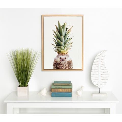 DesignOvation Sylvie Hedgehog Pineapple Framed Canvas by Amy Peterson