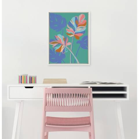 DesignOvation Sylvie Monstera Green Framed Canvas By Kasey Free