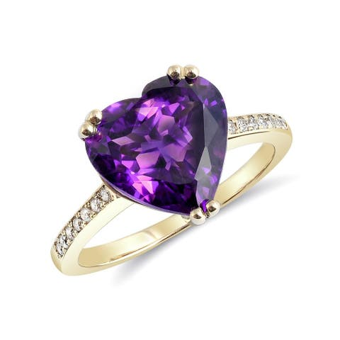 14k Yellow Gold 3.97ct TGW Purple Heart Amethyst and Diamond One-of-a-Kind Ring