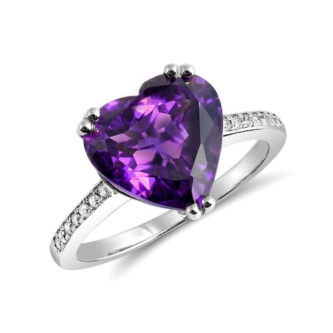 14k White Gold 4.26ct TGW Purple Heart Amethyst and Diamond One-of-a-Kind Ring