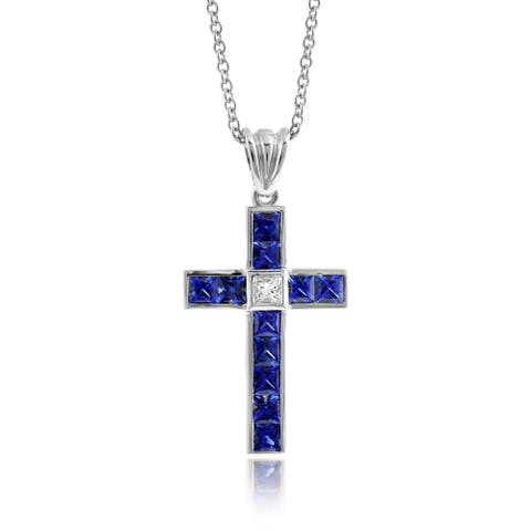 18k White Gold 2.09ct TGW Blue Sapphire and Diamond Cross One-of-a-Kind Necklace