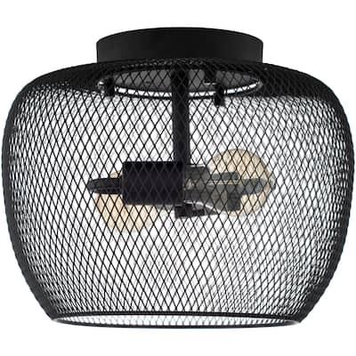 "Agra Industrial Wire 2-light Flush Mount Light - 9.5"" x 12.5"" x 12.5"""