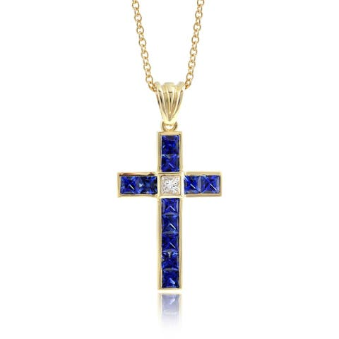 18k Yellow Gold 2.09ct TGW Blue Sapphire and Diamond Cross One-of-a-Kind Necklace