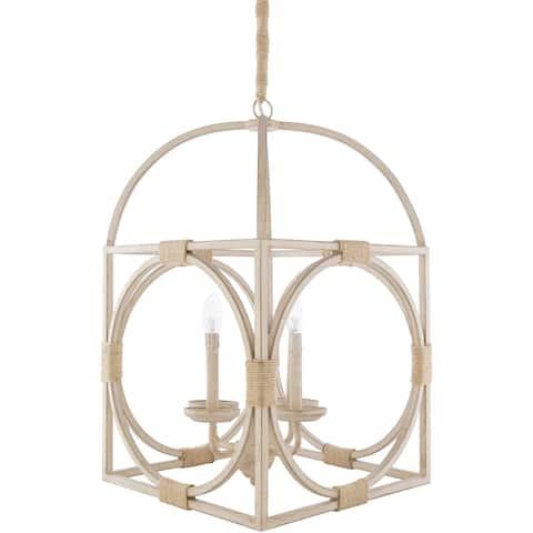 "Berwin Vintage Wood 4-light Pendant - 16"" x 16"" x 21"""