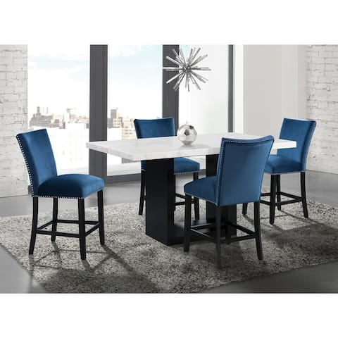 Silver Orchid Martirosyan White Marble 5-piece Counter Height Dining Set