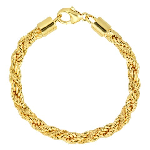 Forever Last 18 k Gold Plated Women's Textured Rope Bracelet