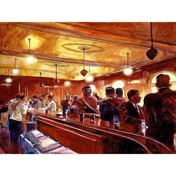 CANVAS Bar Scene - After the Market Closes by David Lloyd Glover Art Painting Reproduction. Opens flyout.