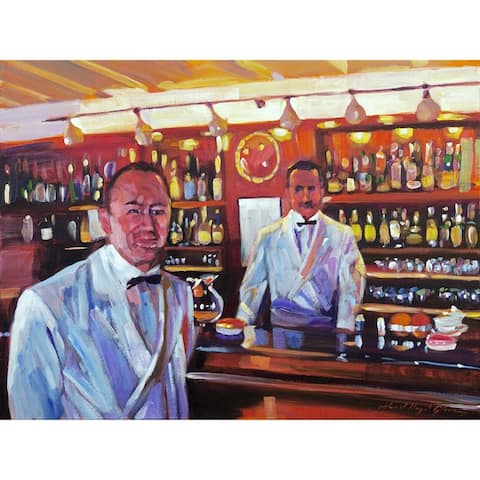 CANVAS Harry's American Bar - Bartender Painting by David Lloyd Glover Art Painting Reproduction