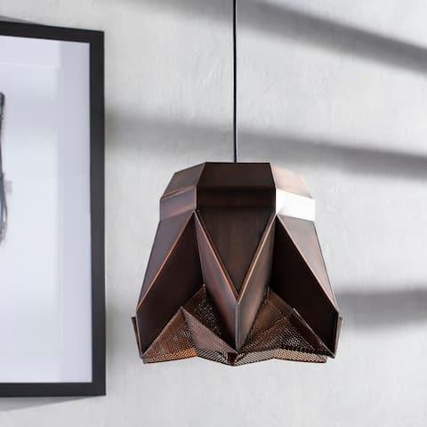 "Neola Antiqued Mid-Century Modern 1-light Pendant - 10.25"" x 6"" x 6"""