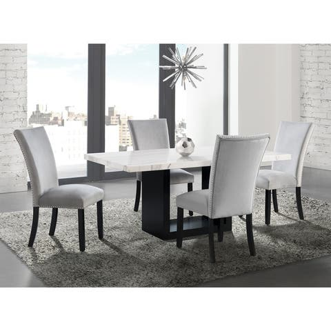 Silver Orchid Martirosyan Transitional Marble Top 5-piece Dining Set