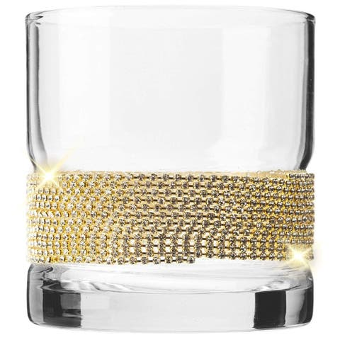 Cheer Collection Crystal Old Fashioned Whiskey Glass with Gold Design