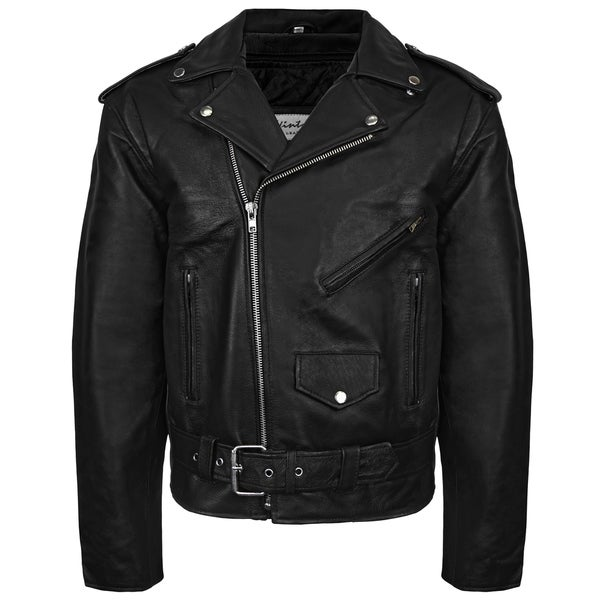 Victory Outfitters Mens Snap & Zip Overlay Closure Leather Biker Jacket