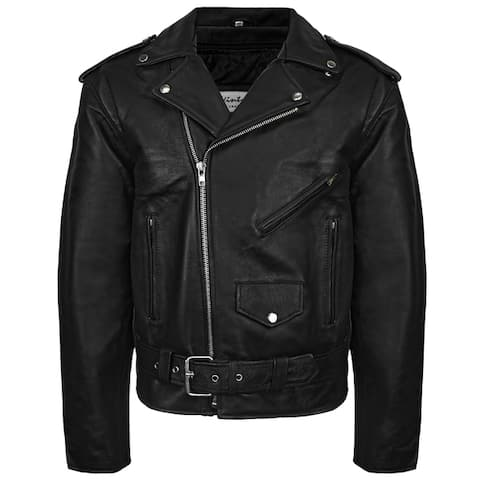 Victory Outfitters Men's Snap & Zip Overlay Closure Leather Biker Jacket