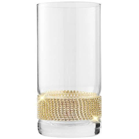 "Cheer Collection Luxurious Highball Cocktail Sparkling""Diamond"" Studded Glasses"