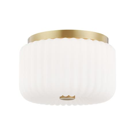 Lydia 2-light Aged Brass Flush Mount, Opal Glossy Glass