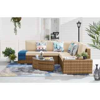 Link to Aspen 6-piece Outdoor Wicker Sectional Set Similar Items in Outdoor Sofas, Chairs & Sectionals