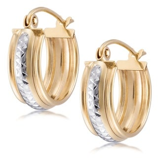 Forever Last 10 kt Yellow/ Rhodium Gold Small Click Hoop Earrings