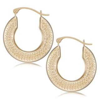 Forever Last 10 kt Yellow Gold Hamered Hoop Earrings