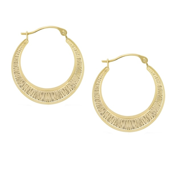 Forever Last 10 kt Gold textured yellow round hoop Earrings