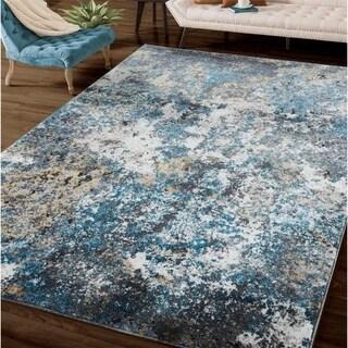 Porch & Den Laducer Blue/Beige Abstract Area Rug