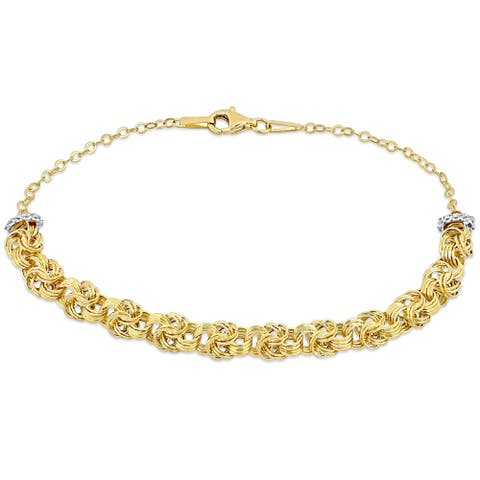 Miadora 10k Yellow Gold Loveknot Link Bracelet