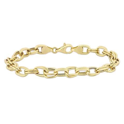 Miadora 14k Yellow Gold Double Oval Link Bracelet