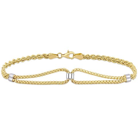 Miadora 10k 2-Tone White and Yellow Gold Loop Bracelet
