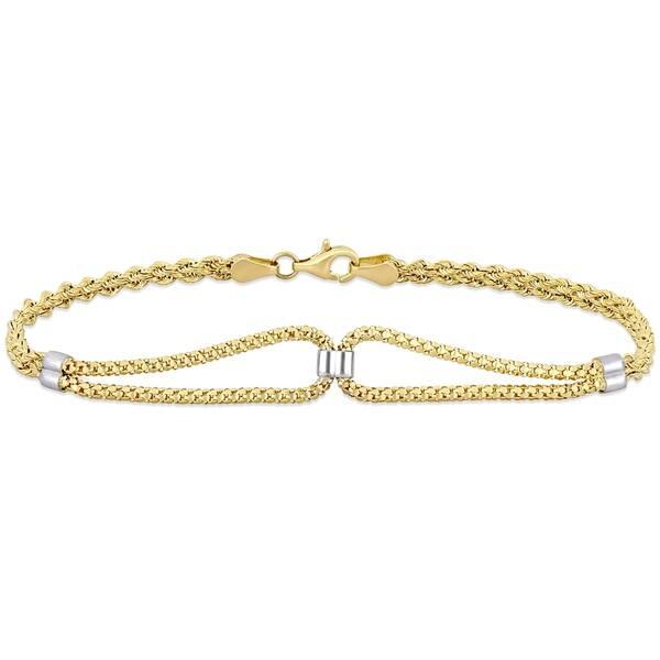 golden yellow and off-white Loop-de-loop friendship bracelet