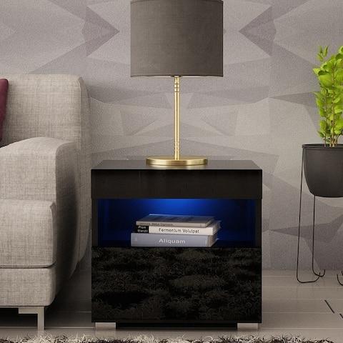 Viv Modern High Gloss Nightstand with LED Lights and Wall Mount