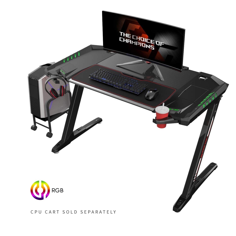 Eureka Ergonomic Z2 Pc Gaming Desk With Led Lights Retractable Cup Holder Headset Hook