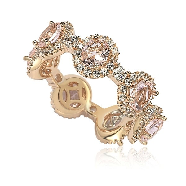 Suzy L. Oval-Cut Pink Morganite Cubic Zirconia in Rose Sterling Silver Stackable Band. Opens flyout.